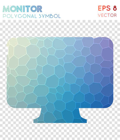 Monitor polygonal symbol. Attractive mosaic style symbol. Charming low poly style. Modern design. Monitor icon for infographics or presentation. Illustration