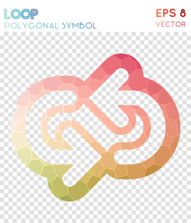 Loop outline polygonal symbol. Astonishing mosaic style symbol. Favorable low poly style. Modern design. Loop outline icon for infographics or presentation. Ilustrace