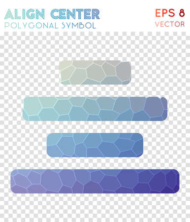 Align center polygonal symbol. Actual mosaic style symbol. Brilliant low poly style. Modern design. Align center icon for infographics or presentation. Stock fotó - 106799314