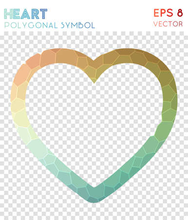 Heart empty polygonal symbol. Appealing mosaic style symbol. Fair low poly style. Modern design. Heart empty icon for infographics or presentation. Ilustração