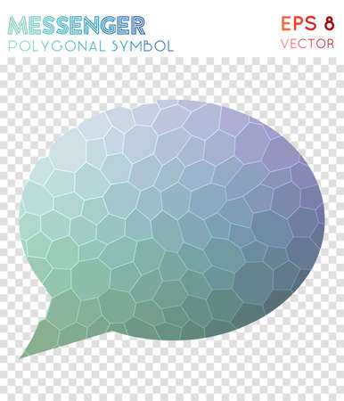 Comment alt polygonal symbol. Alive mosaic style symbol. Fine low poly style. Modern design. Comment alt icon for infographics or presentation. Illustration