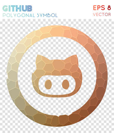 Github circled polygonal symbol. Amusing mosaic style symbol. Perfect low poly style. Modern design. Github circled icon for infographics or presentation. Illustration