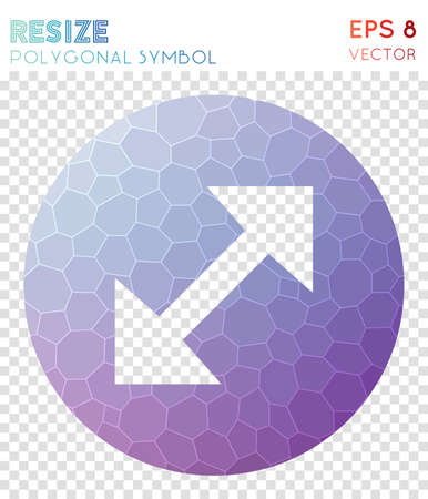 Resize full circle polygonal symbol. Awesome mosaic style symbol. Divine low poly style. Modern design. Resize full circle icon for infographics or presentation.