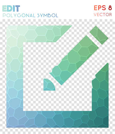 Edit alt polygonal symbol. Alluring mosaic style symbol. Stunning low poly style. Modern design. Edit alt icon for infographics or presentation.