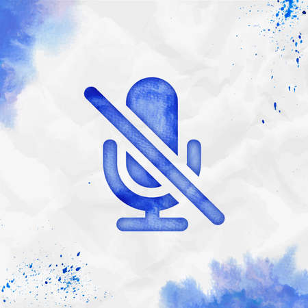 Mic off watercolor icon. Attractive hand drawn style symbol. Beauteous watercolor symbol. Modern design for infographics or presentation.