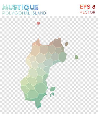 Mustique polygonal map, mosaic style island. Elegant low poly style, modern design. Mustique polygonal map for infographics or presentation.