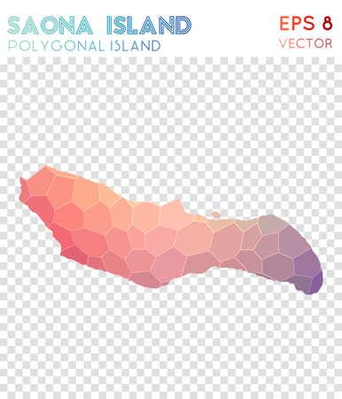 Polygonale Karte der Insel Saona, Insel im Mosaikstil. Herrlicher Low-Poly-Stil, modernes Design. Polygonale Karte der Insel Saona für Infografiken oder Präsentationen.
