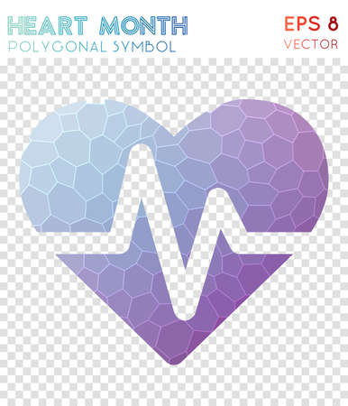 Heart polygonal symbol. Appealing mosaic style symbol. Fetching low poly style. Modern design. Heart icon for infographics or presentation. Illustration