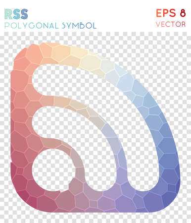 Rss outline polygonal symbol. Awesome mosaic style symbol. Shapely low poly style. Modern design. Rss outline icon for infographics or presentation. Illustration