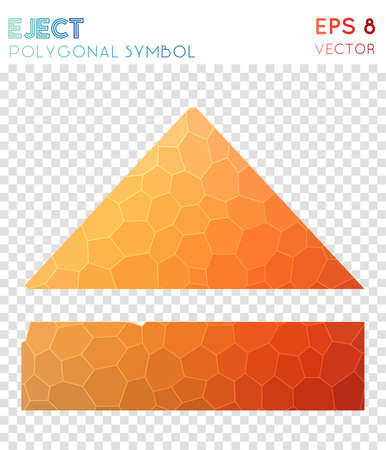 Eject polygonal symbol. Alluring mosaic style symbol. Tempting low poly style. Modern design. Eject icon for infographics or presentation.