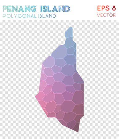 Penang Island polygonal map, mosaic style island. Favorable low poly style, modern design. Penang Island polygonal map for infographics or presentation.