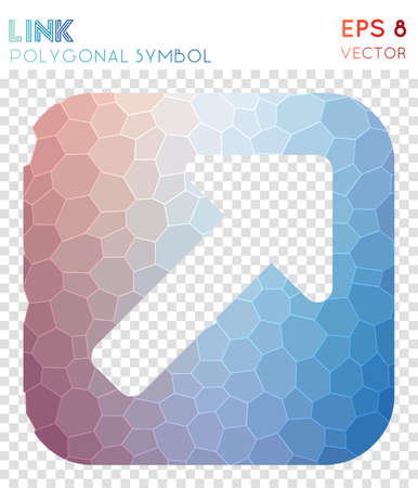 Link ext alt polygonal symbol. Artistic mosaic style symbol. Pretty low poly style. Modern design. Link ext alt icon for infographics or presentation.