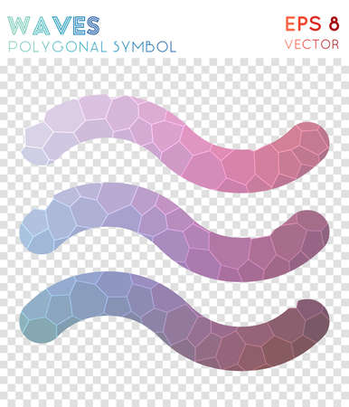 Waves polygonal symbol. Bizarre mosaic style symbol. Overwhelming low poly style. Modern design. Waves icon for infographics or presentation.