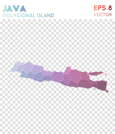Java polygonal map, mosaic style island. Terrific low poly style, modern design. Java polygonal map for infographics or presentation. 일러스트