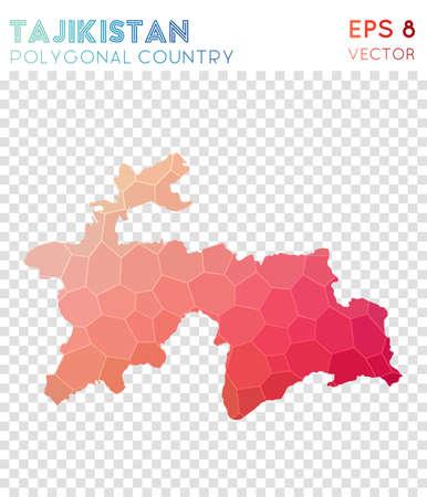 Tajikistan polygonal map, mosaic style country. Dramatic low poly style, modern design. Tajikistan polygonal map for infographics or presentation.