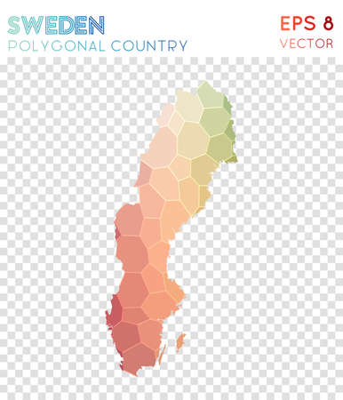 Sweden polygonal map, mosaic style country. Cute low poly style, modern design. Sweden polygonal map for infographics or presentation. Illustration