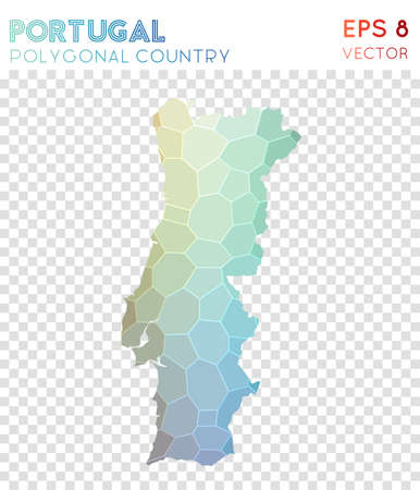 Portugal polygonal map, mosaic style country. Appealing low poly style, modern design. Portugal polygonal map for infographics or presentation.