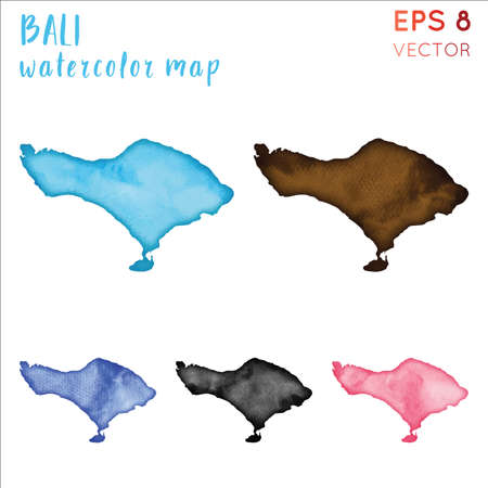Bali watercolor island map. Handpainted watercolor Bali map set. Vector illustration. Иллюстрация
