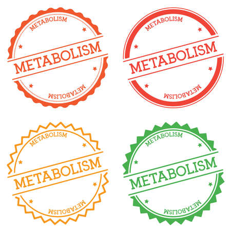 Metabolism badge isolated on white background. Flat style round label with text. Circular emblem vector illustration.