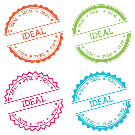 Ideal badge isolated on white background. Flat style round label with text. Circular emblem vector illustration.