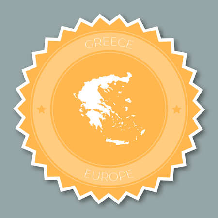Hellenic Republic badge flat design. Round flat style sticker of trendy colors with country map and name. Country badge vector illustration.