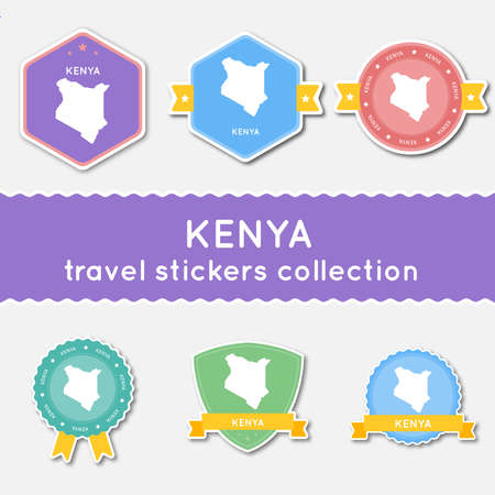Kenya travel stickers collection. Big set of stickers with US state map and name. Flat material style badges vector illustration.