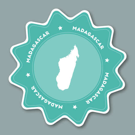Madagascar map sticker in trendy colors. Star shaped travel sticker with country name and map. Can be used as logo, badge, label, tag, sign, stamp or emblem. Travel badge vector illustration. Illustration