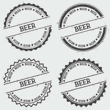 Beer insignia stamp isolated on white background. Grunge round hipster seal with text, ink texture and splatter and blots, vector illustration.