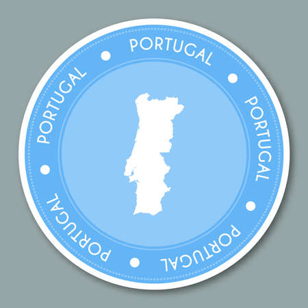 Portugal label flat sticker design. Patriotic country map round lable. Country sticker vector illustration.