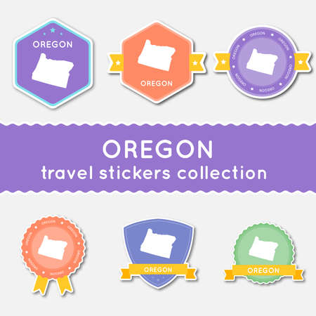 Oregon travel stickers collection. Big set of stickers with US state map and name. Flat material style badges vector illustration.