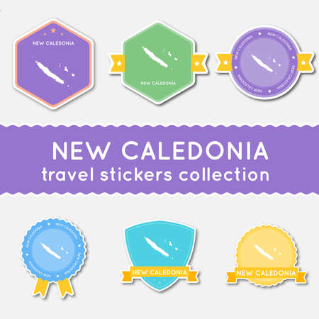 New Caledonia travel stickers collection. Big set of stickers with US state map and name. Flat material style badges vector illustration.