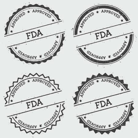Bollo di insegne approvato dalla FDA isolato su priorità bassa bianca. Sigillo di hipster rotondo grunge con testo, struttura dell'inchiostro e schizzi e macchie, illustrazione vettoriale.