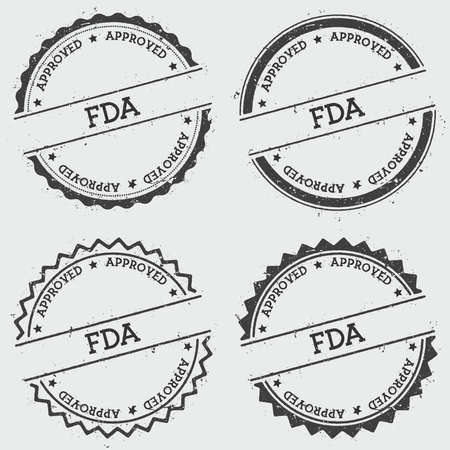FDA Approved insignia stamp isolated on white background. Grunge round hipster seal with text, ink texture and splatter and blots, vector illustration.