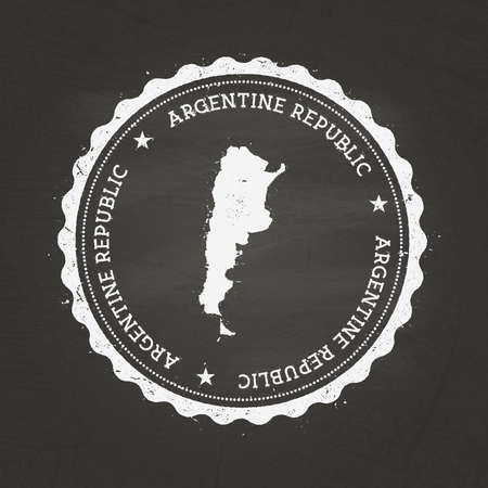 White chalk texture rubber stamp with Argentine Republic map on a school blackboard. Grunge rubber seal with country map outline, vector illustration.