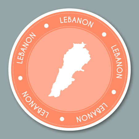 Lebanon label flat sticker design. Patriotic country map round lable. Country sticker vector illustration.