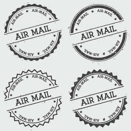 Air-mail insignia stamp isolated on white background. Grunge round hipster seal with text, ink texture and splatter and blots, vector illustration. Vector Illustration