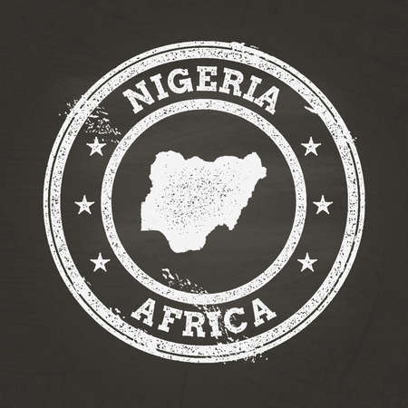 White chalk texture grunge stamp with Federal Republic of Nigeria map on a school blackboard. Grunge rubber seal with country map outline, vector illustration.