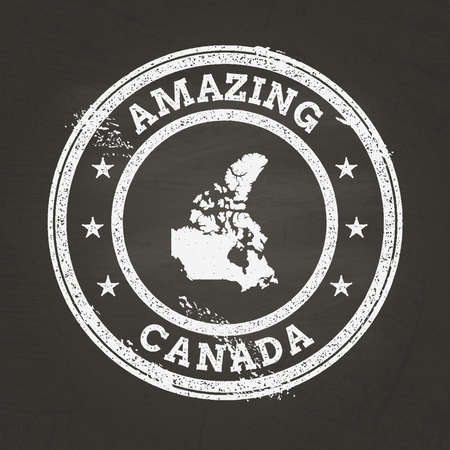 White chalk texture vintage stamp with Canada map on a school blackboard. Grunge rubber seal with country map outline, vector illustration.