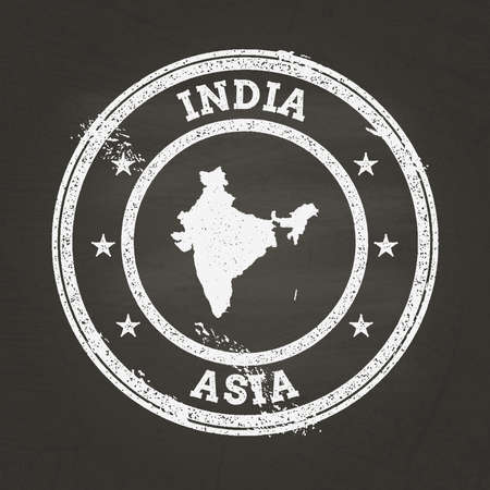 White chalk texture grunge stamp with Republic of India map on a school blackboard. Grunge rubber seal with country map outline, vector illustration.