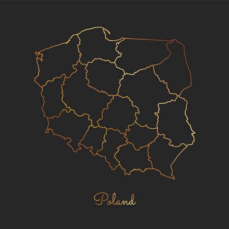 Poland region map: golden gradient outline on dark background. Detailed map of Poland regions. Vector illustration.