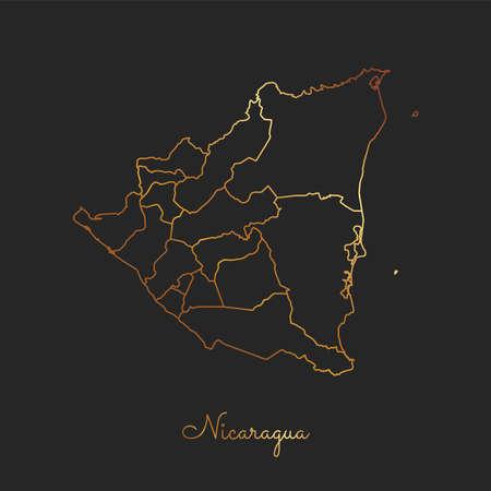 Nicaragua region map: golden gradient outline on dark background. Detailed map of Nicaragua regions. Vector illustration. Vetores