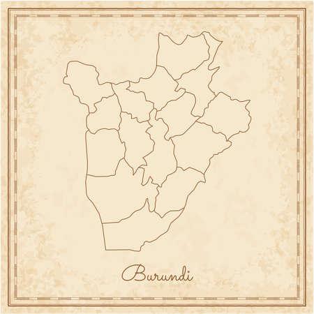 Burundi region map: stilyzed old pirate parchment imitation. Detailed map of Burundi regions. Vector illustration.