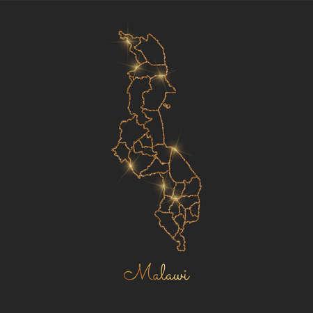 Malawi region map: golden glitter outline with sparkling stars on dark background. Detailed map of Malawi regions. Vector illustration.