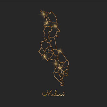 Malawi region map: golden glitter outline with sparkling stars on dark background. Detailed map of Malawi regions. Vector illustration.