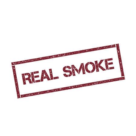 Timbro rettangolare fumo reale. Guarnizione rossa testurizzata con testo isolato su sfondo bianco, illustrazione vettoriale.