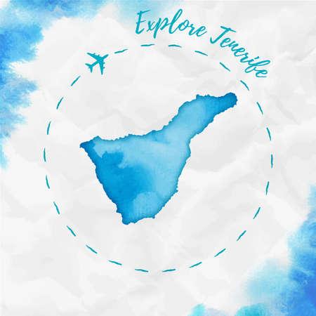 Mapa wyspy Teneryfa w turkusowych kolorach. Odkryj plakat Teneryfy ze śladem samolotu i ręcznie malowaną mapą na zmiętym papierze. Ilustracja wektorowa.