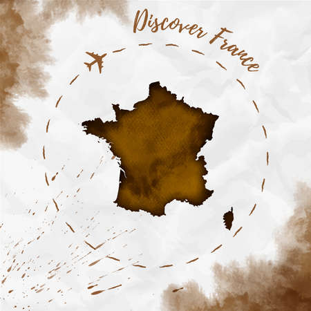 France  map in sepia colors. Discover France poster with airplane trace and handpainted  France map on crumpled paper. Vector illustration.