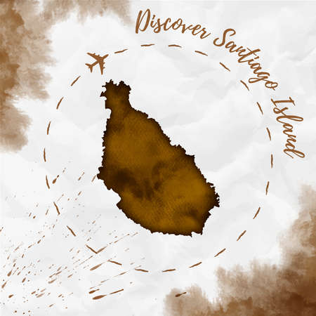 Santiago Island watercolor island map in sepia colors. Discover Santiago Island poster with airplane trace and handpainted watercolor Santiago Island map on crumpled paper. Vector illustration. Vektoros illusztráció