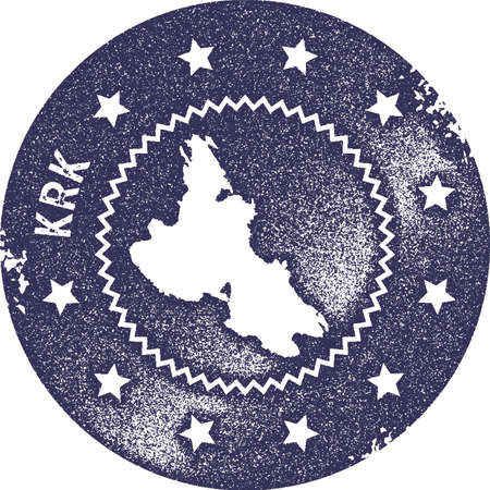 Krk map vintage stamp. Retro style handmade label, badge or element for travel souvenirs. Deep purple rubber stamp with island map silhouette. Vector illustration.
