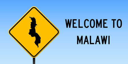 Malawi map on road sign. Wide poster with Malawi country map on yellow rhomb road sign. Vector illustration.